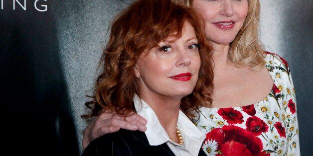 Actresses Susan Sarandon, left, and Geena Davis pose for photographers during a photo call for the Women...