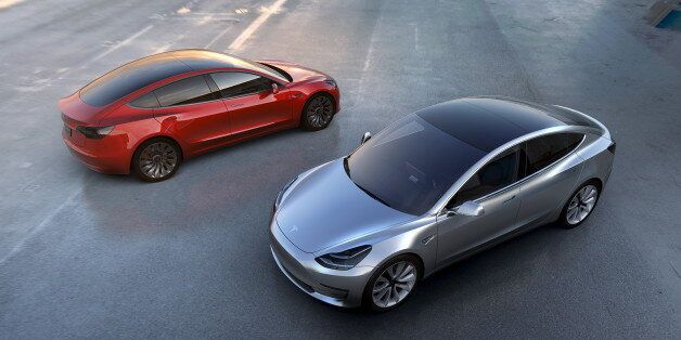 Tesla Motors' mass-market Model 3 electric cars are seen in this handout picture from Tesla Motors on...