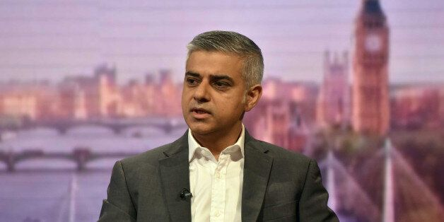 London's newly elected mayor Sadiq Khan appears on the BBC's Andrew Marr Show programe in a studio in...