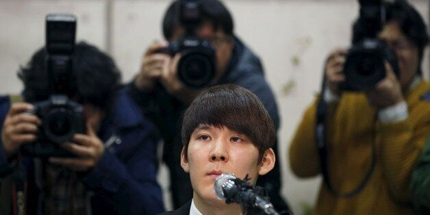 South Korea's Olympic swimming champion Park Tae-hwan attends a news conference at a hotel in Seoul March...