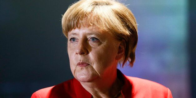 German Chancellor Angela Merkel attends the opening of the Europa Experience exhibition in the European...