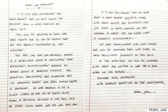 '펄 잼'이 노스캐롤라이나에 손으로 쓴 공연 취소 성명서를