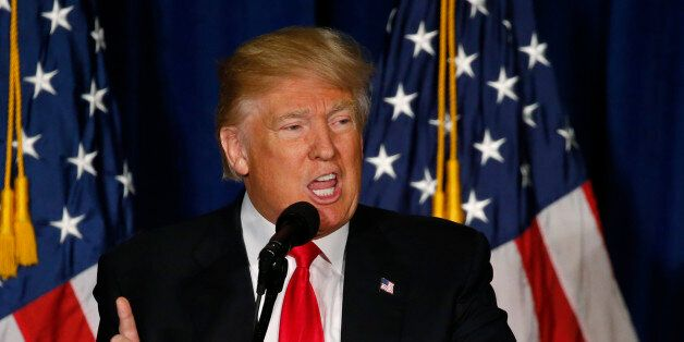 Republican U.S. presidential candidate Donald Trump delivers a foreign policy speech at the Mayflower...