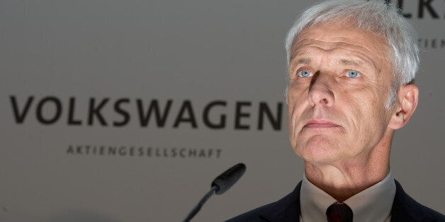 CEO of Volkswagen Matthias Mueller attends a news conference conference Volkswagen company in Wolfsburg,...