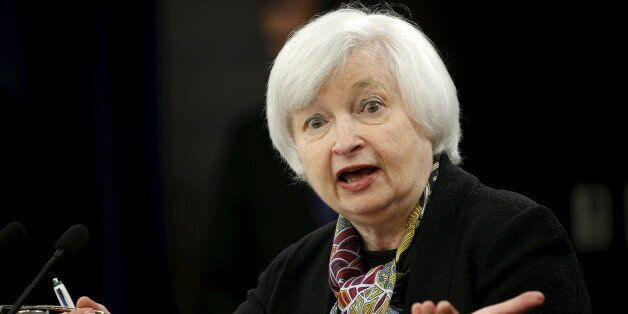 U.S. Federal Reserve Chair Janet Yellen holds a press conference following the two-day Federal Open Market...