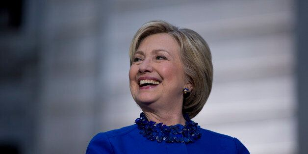 Democratic presidential candidate Hillary Clinton smiles during a campaign stop, Monday, April 25, 2016,...
