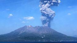 사쿠라지마 화산이 4천m 높이로