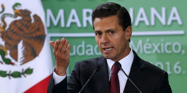 Mexico's President Enrique Pena Nieto announces the government plans to legalize marijuana-based medicines,...