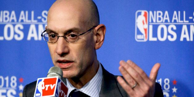 FILE - In this March 22, 2016 file photo, NBA Commissioner Adam Silver gestures during a news conference...