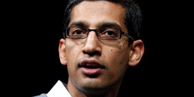 Sundar Pichai, senior vice president of Google Chrome, speaks during Google I/O Conference at Moscone...