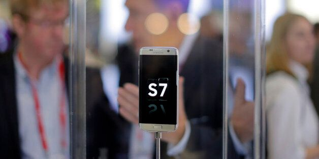 A Samsung Galaxy S7 is displayed during the Mobile World Congress wireless show in Barcelona, Spain,...
