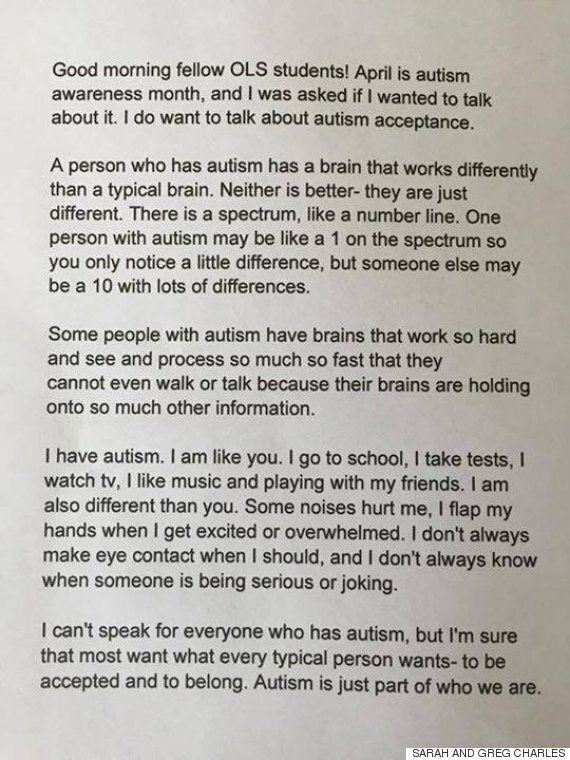 자폐 소녀가 전교생 앞에서 강렬한 연설을