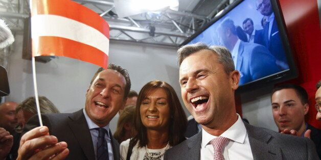 Presidential candidate Norbert Hofer (R) and head of the Austrian Freedom party Heinz-Christian Strache...