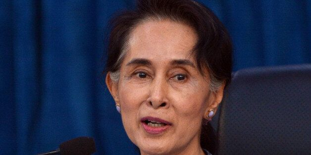 Myanmar Foreign Affair Minister Aung San Suu Kyi speaks during a meeting with diplomats at the ministryof...