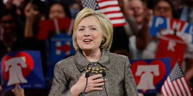 Democratic U.S. presidential candidate Hillary Clinton speaks at her five state primary night rally in...