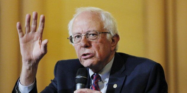 U.S. Democratic presidential candidate Bernie Sanders speaks during a panel discussion at the First Unitarian...