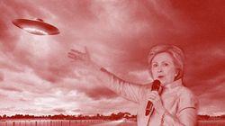 힐러리 클린턴이 UFO로 표를 모으고