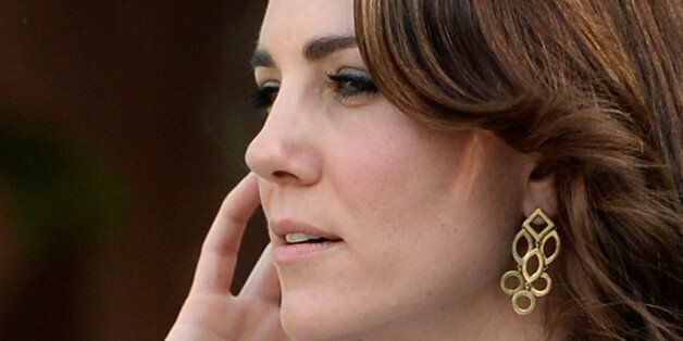 Catherine, Duchess of Cambridge, looks on during her visit to Gandhi Smriti in New Delhi, India, April...