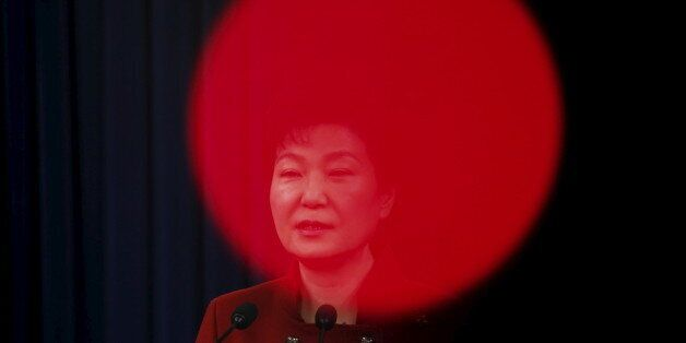 South Korean President Park Geun-hye addresses the nation at the Presidential Blue House in Seoul, South...