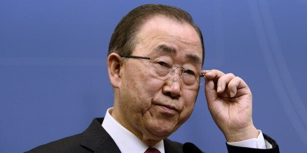 United Nations Secretary General Ban Ki-moon holds a joint news conference with Swedish Prime Minister...