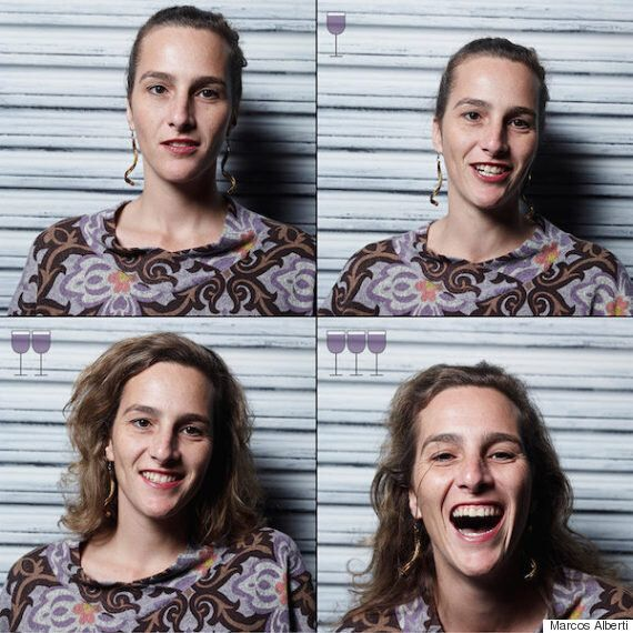 3잔의 와인을 마신 사람들의 표정 변화를 찍었다(15명의