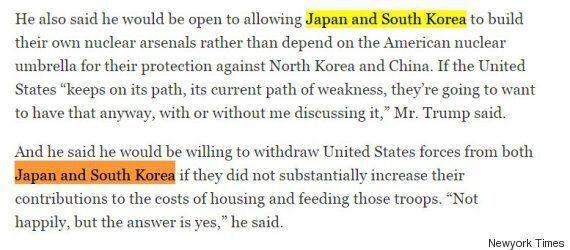 도널드 트럼프가 한일 양국의 핵무장을 지지하는