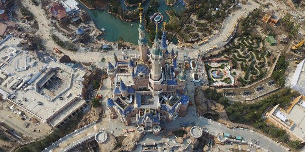 SHANGHAI, CHINA - MARCH 27: (CHINA OUT) Aerial view of the Shanghai Disneyland Park under construction...