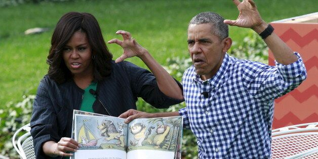 U.S. President Barack Obama and first lady Michelle Obama perform a reading of the children's