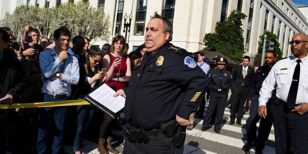 Capitol Hill Police Chief Matthew Verderosa arrives to brief reporters on Capitol in Washington, Monday,...