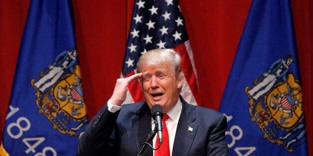 U.S. Republican presidential candidate Donald Trump speaks at a campaign rally in De Pere, Wisconsin,...
