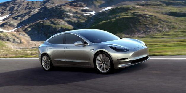 A Tesla Motors mass-market Model 3 electric car is seen in this handout picture from Tesla Motors on...