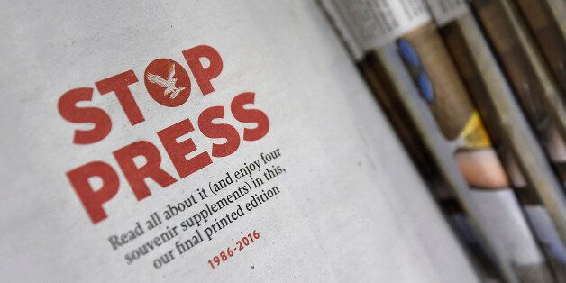 Copies of the final print edition of The Independent newspaper are seen on sale at a newsagents in west...