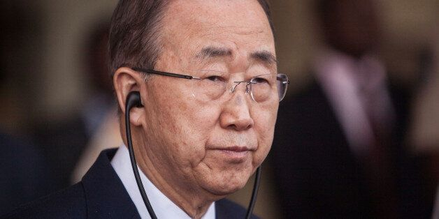 United Nations secretary-general Ban Ki-moon listens during a press briefing at the presidency in Ouagadougou,...