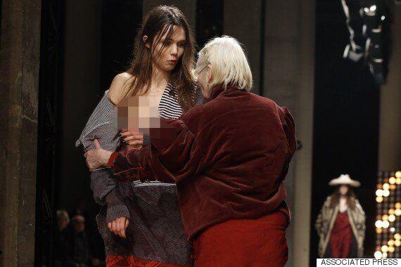 자신의 모델을 지키기 위해 런웨이로 달려간 비비안 웨스트우드(사진