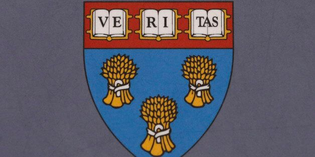 FILE - In this Tuesday, Nov. 10, 2015, file photo, the Harvard Law School seal is shown attached to a...