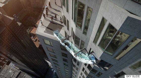 로스엔젤레스에 설치된 300m 높이 '유리 미끄럼틀'(사진
