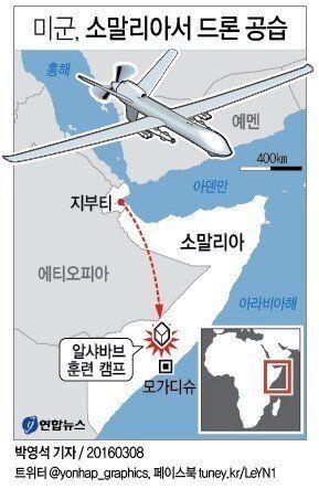 미군, '드론 공습'으로 소말리아 무장단체 '알샤바브' 대원 무더기
