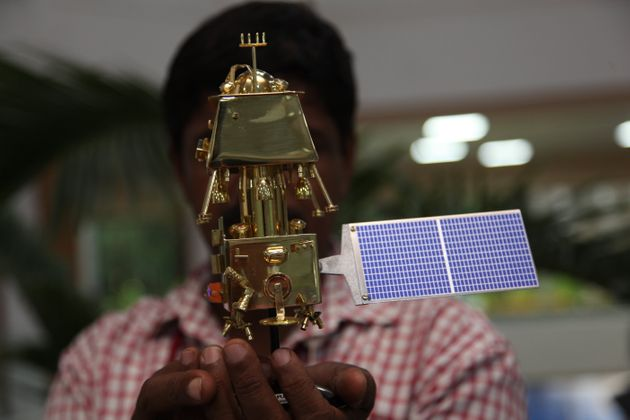 Scale models of Chandrayaan-2 on display at the headquarters of the Indian Space Research Organisation