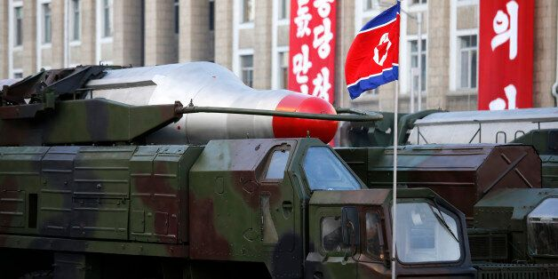 In this Saturday, Oct. 10, 2015, photo, medium range Nodong ballistic missiles are paraded in Pyongyang,...