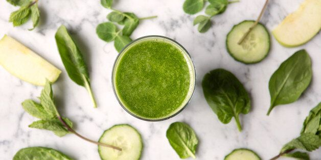 Green juice drink. Part of a healthy
