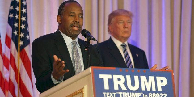 Former Republican presidential candidate Ben Carson speaks after announcing he will endorse Republican...