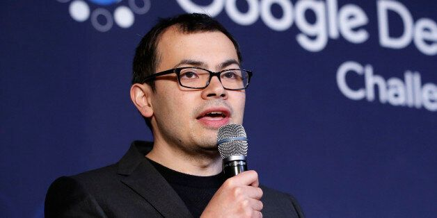 Google DeepMind CEO Demis Hassabis answers a reporter's question during a press conference after finishing...