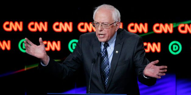 Democratic presidential candidate, Sen. Bernie Sanders, I-Vt., argues a point during a Democratic presidential...