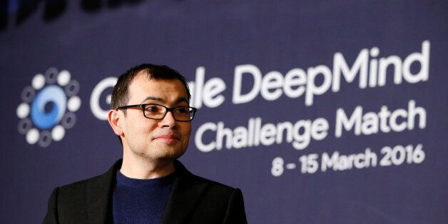 CEO of Google DeepMind Demis Hassabis attends at a press conference after the Google DeepMind Challenge...