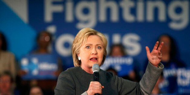 Democratic presidential candidate Hillary Clinton speaks at