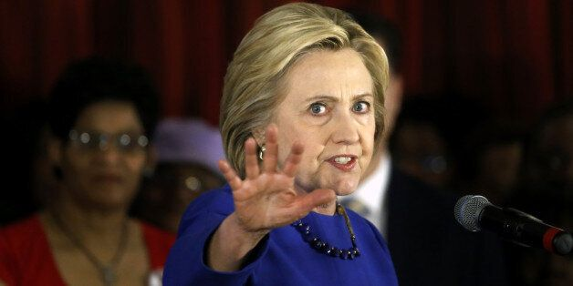 Democratic presidential candidate Hillary Clinton makes a point during a campaign stop, Wednesday, Feb....