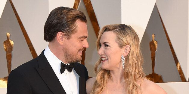 Leonardo DiCaprio, left, and Kate Winslet arrive at the Oscars on Sunday, Feb. 28, 2016, at the Dolby...