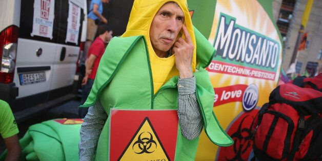 A demonstrator holds a poster during a World March Against Monsanto event in Lisbon Saturday, May 23,...