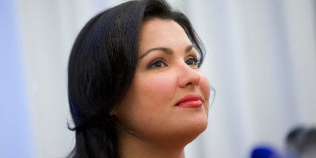 Russian leading operatic soprano Anna Netrebko speaks at a news conference in Moscow on Tuesday, June...