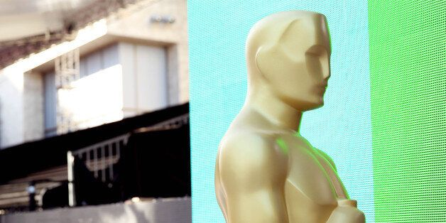 An Oscar statue is seen during setup for the 88th Academy Awards in Los Angeles, Wednesday, Feb. 24,...